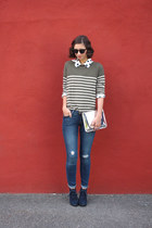 army green Boden sweater - navy shoemint boots - navy Old Navy jeans