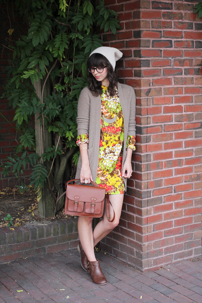 brown H&M bag - brown modcloth boots - chartreuse vintage dress
