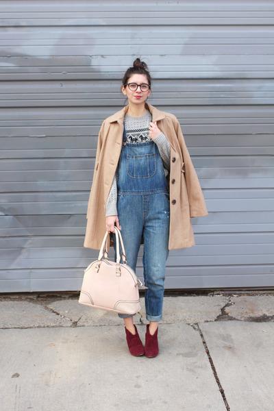 tan Target coat - maroon Steve Madden boots - navy Loft jeans