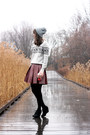 Black-target-shoes-heather-gray-thrifted-sweater-maroon-shopbop-skirt