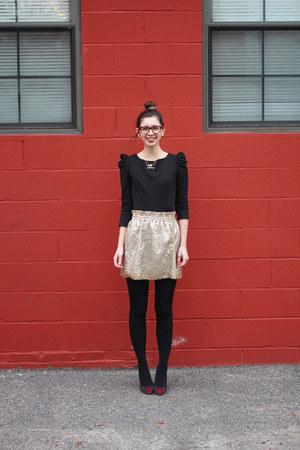 gold Jcrew skirt - black BB Dakota dress - ruby red Warby Parker glasses