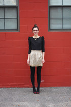 gold Jcrew skirt - black BB Dakota dress - ruby red Warby Parker glasses