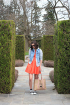 carrot orange eShakti dress - tan Apple & Bee bag - heather gray H&M sweatshirt
