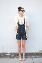 white Loft shirt - navy thrifted shorts - dark brown Warby Parker sunglasses