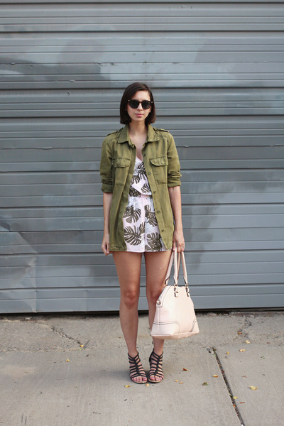 light pink H&M romper - olive green Forever 21 jacket
