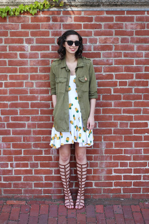 army green Forever21 jacket - white handmade dress