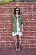 army green Forever21 jacket - white handmade dress