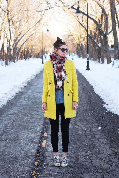 yellow Sheinside coat - black Urban Outfitters jeans - red H&M scarf