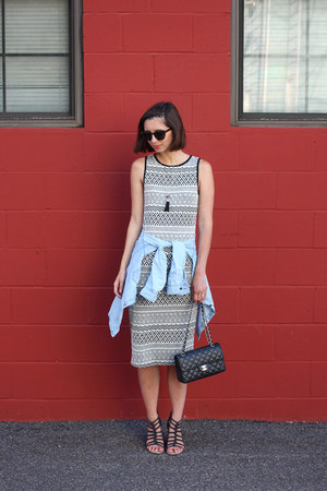 black Buffalo Exchange dress - light blue Gap shirt - black Chanel purse