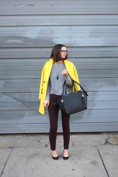 yellow Sheinside coat - gray Lou & Grey sweater - black H&M bag