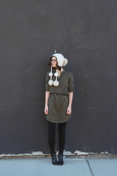black DSW boots - army green Lou & Grey dress - off white Urban Outfitters hat