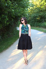 Green-american-apparel-top-black-h-m-skirt-black-blowfish-sandals