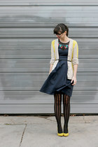 navy eShakti dress - black Urban Outfitters tights - yellow simply vera cardigan