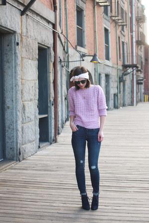 navy shoemint boots - navy Old Navy jeans - light purple vintage sweater