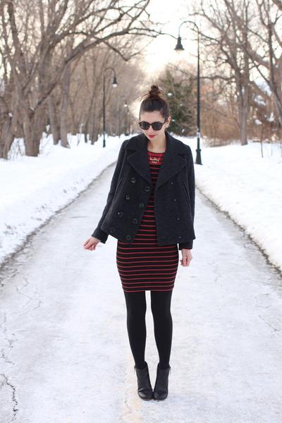 black DSW boots - brick red H&M dress - black Forever 21 coat