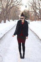 black DSW boots - brick red H&M dress - black Forever 21 coat