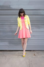 Salmon-express-dress-light-yellow-forever21-blazer-hot-pink-forever21-shirt