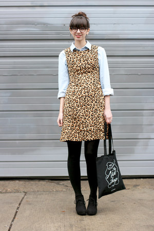 black Target boots - brown Gap dress - light blue American Apparel shirt
