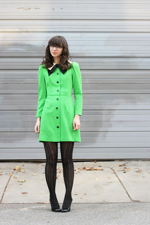 green haberdash vintage dress - black unknown brand tights