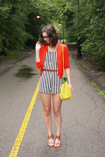 black thrifted romper - yellow H&M purse - red Jcrew cardigan