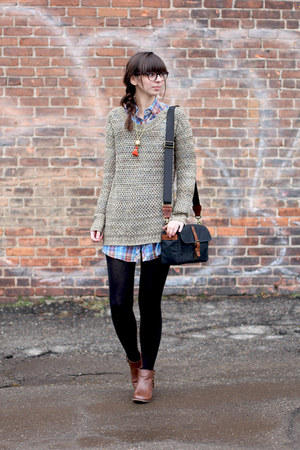 tan thrifted sweater - brown modcloth boots - blue thrifted shirt