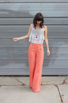 salmon Anthropologie pants - heather gray thrifted top
