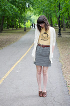 black Loft skirt - brown big buddha shoes - eggshell C&C California cardigan
