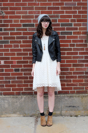 black Sheinside jacket - camel Boutique 9 boots - white H&M dress