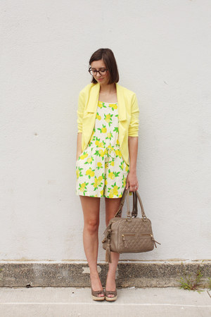 yellow Forever 21 jacket - tan theIT bag - yellow Accessorize romper