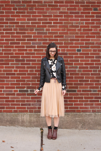 peach Urban Outfitters skirt - brown DSW boots - black Sheinside jacket