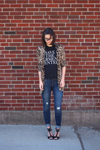 navy Old Navy jeans - light brown modcloth cardigan - black CFDA t-shirt