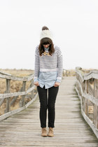 ivory H&M sweater - tan Old Navy boots - black Gap jeans