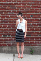 white Anthropologie vest - black Loft skirt - white Loft t-shirt