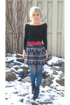 black Urban Behaviour sweater - blue Forever 21 tights - black Forever 21 skirt