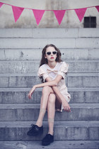 Forever21 dress - short nude Jcpennys socks - fredflare glasses - Amazon wedges