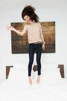 Betsey Johnson belt - H&M jeans - half cut thin Macys blouse