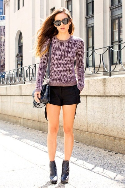 black Macys purse - light purple Target sweater - black Target shorts