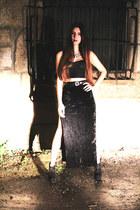 black Aldo boots - black velvet evil twin skirt - black Mink Pink top
