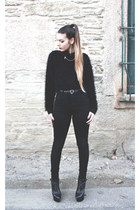 black Yves Saint Laurent boots - black glamurous shirt