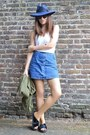 White-cotton-topshop-top-blue-denim-topshop-skirt