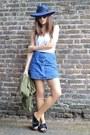White-cotton-topshop-top-blue-denim-topshop-skirt