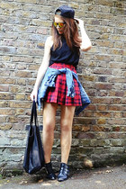 black cotton Topshop t-shirt - sky blue denim Zara jacket - red plaid H&M skirt