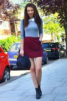 crimson corduroy H&M skirt - black leather Gap boots - dark gray fedora Gap hat