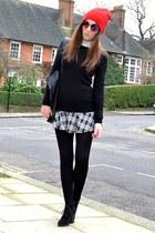 black suede Topshop boots - red beanie Topshop hat - white cotton Zara shirt