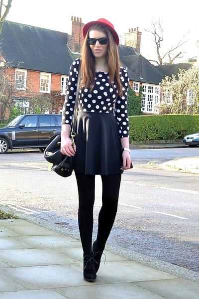 black dotted H&M dress - red fedora H&M hat - black cotton Primark tights