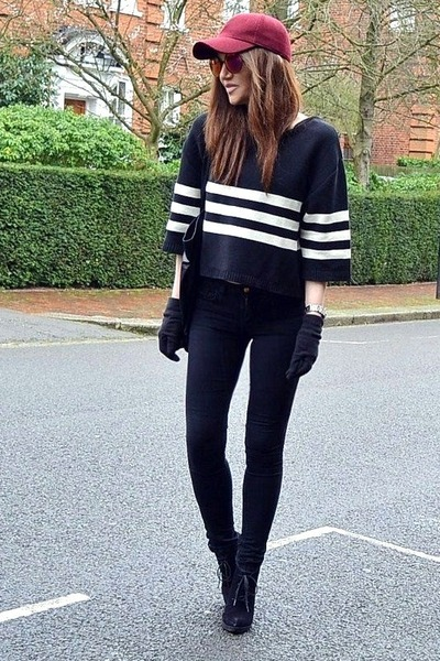 black suede Topshop boots - black cotton Topshop jeans - maroon baseball H&M hat