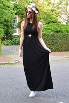 black maxi Topshop dress - deep purple round Topshop sunglasses