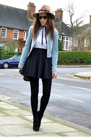 black mini River Island skirt - black suede Topshop boots