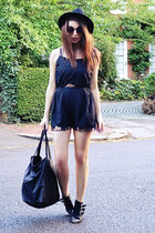 black cotton Topshop romper - deep purple round Topshop sunglasses