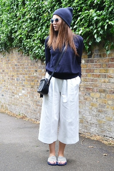 black leather Gucci bag - white culottes Zara pants - navy knitted COS jumper